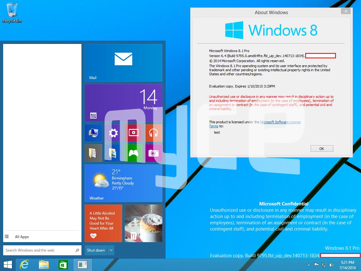 Попавшие в сеть скриншоты Windows 9 показывают, каким будет новое меню Пуск