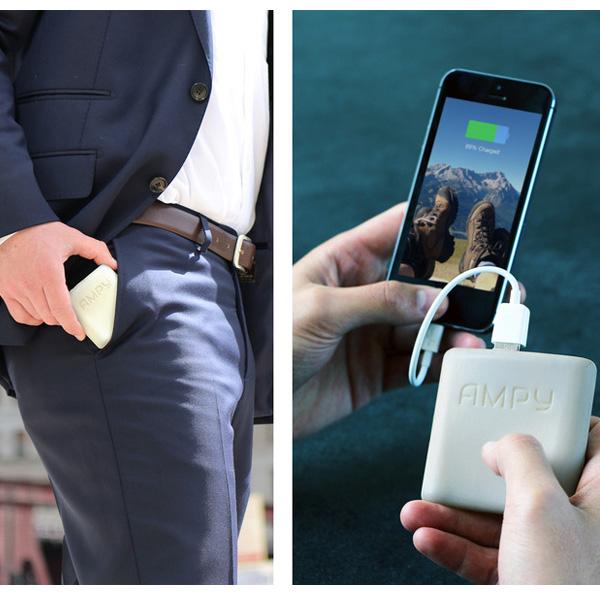 аккумулятор,kickstarter, AMPY — внешняя батарея, заряжающаяся в движении